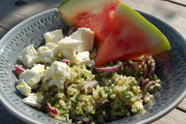 Couscous met watermeloen en feta