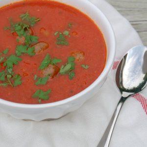 Gegrilde paprika soep