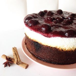 Brownie & cherry cheesecake