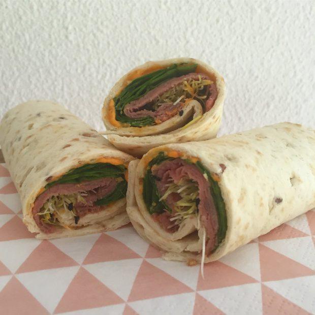 Wraps met rosbief en humus