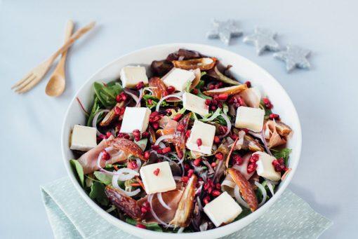 Salade met brie en granaatappel