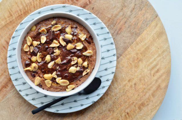 Havermoutpap met chocolade en pindakaas