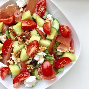 Salade met meloen en ham